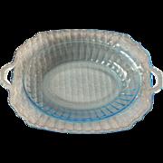 "Blue Mayfair ""Open Rose"" Depression Glass Oval Vegetable Bowl"