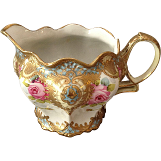 Beautiful Nippon Hand-Painted Water/Cider Pitcher with Applied 14K Gold