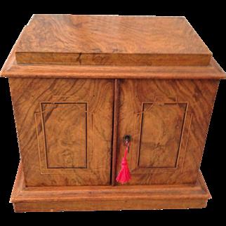 Outstanding Burl Wood, Two-Drawer, Jewelry Box, Circa 1880