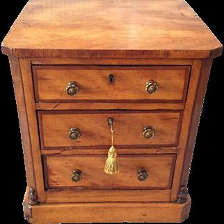 Circa 1880, Three-drawer (All Locking) Wooden Cabinet or Jewelry Box