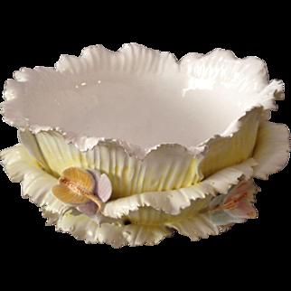 Large, Very Unique, Bowl of Porcelain Lettuce with Applied Porcelain Butterflies