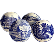 Four (4) Marked Pictorial Flow Blue English Display Bowls, Circa 1890