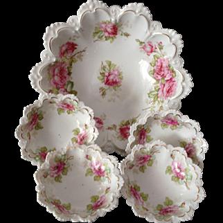 Beautiful MZ Austria Floral Master Berry Bowl Set, Circa 1900