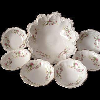 Outstanding MZ Austria Tea Rose Berry Bowl Set, Circa 1900