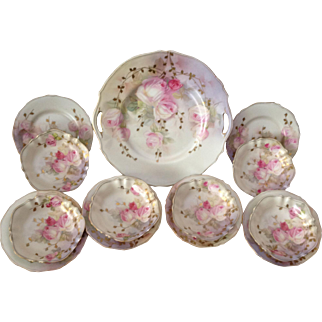 Best Ever 13-Piece RS Prussia, RS Germany Hand-Painted Cake Plate Set, Circa 1905