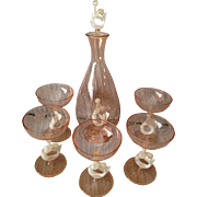 Unique Pink and White Mermaid Bemini Glass decanter Set