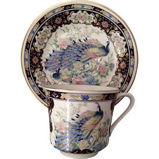 Beautiful Vintage Japanese Hand Painted Peacock Cup and Saucer