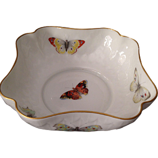 Beautiful B&C Limoges Butterfly Bowl With 14K Gold Trim