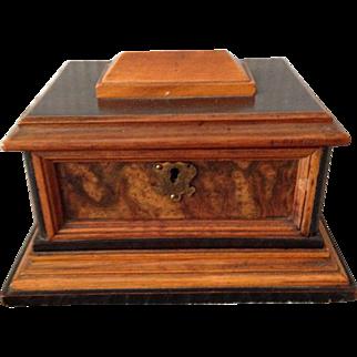 Outstanding English Antique Multi-Wood Jewelery Box. C 1880