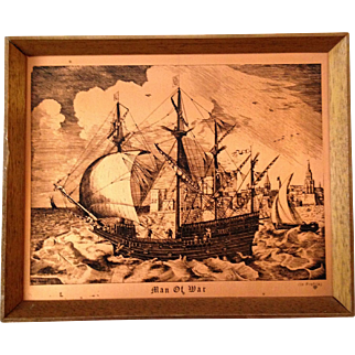 """Unique Etching on Copper of the Famous """"Man of War"""" Battleship"""