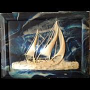 Original Vintage Incolay Stone Sailing Ship Plaque