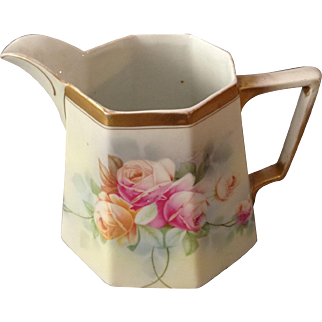 Beautiful JSV Germany Hand Painted Rose Large Water Pitcher