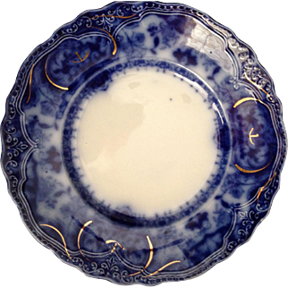"""Outstanding Prussia Flow Blue 9 1/2"""" Cabinet Plate."""