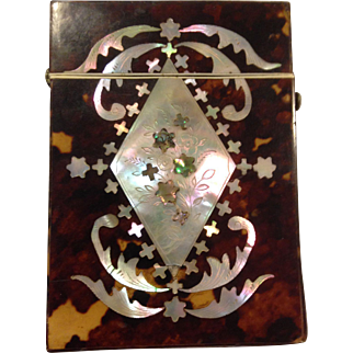 Outstanding Victorian Shell and Mother of Pearl Calling Card Case. C-1870