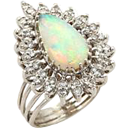 Estate Diamonds & Fire Opal 14k White Gold Cocktail Pear Shape Ring-Size 7