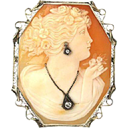 Impressive 14k W/Gold Diamond Shell Cameo Carved Woman Filigree Oval Pin/Pendant