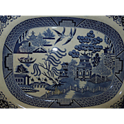 ca 1840 English Staffordshire Blue Willow Turkey Platter in Blue Transferware