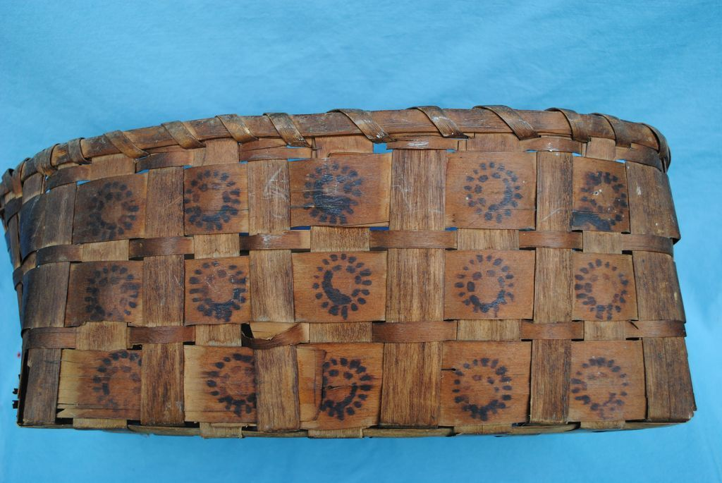 Northeast American Indian Potato Stamped Basket, 19th c.