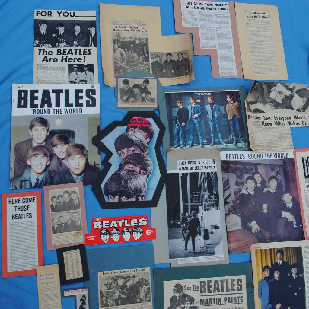 39 Pieces Beatles Scrapbook Type Memorabilia..No1 Beatles 'Round The World Magazine