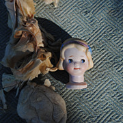Charming Nippon Pincushion...Side Glancing Eyes...Molded Hair