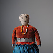 Navajo Made Circa 1940  Doll...Hand Sewn Clothing..Beading..Metal Worked Belt..Leather Shoes