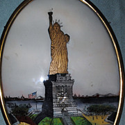 Reverse Painted Statue Of Liberty....Funky Statue!....Early 20th c.