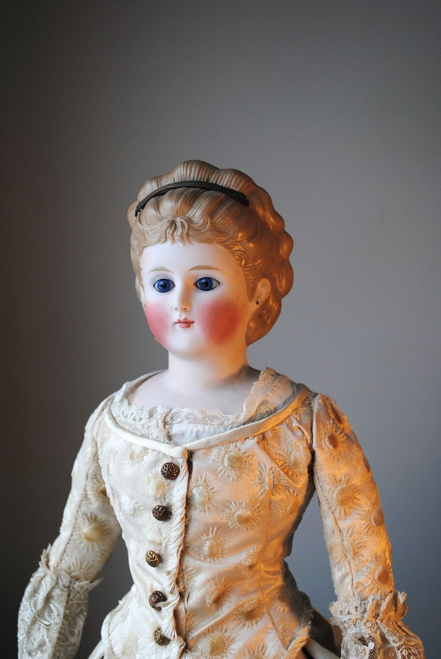Rare Glass Eyed Bisque Lady Circa 1875 With Molded Hair And Diadem