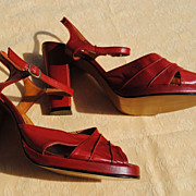 Never Worn French Platform Sandals Circa 1940 Size 7-7 1/2....Great Red Color