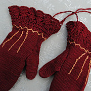 Hand Knitted Silk Embroidered Mittens....Unused Condition