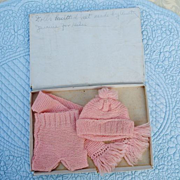Charming 3 Piece Hand Knitted Set In Box....With Hand Written Note