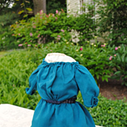 "Beautiful Teal Blue Wool Dress For A 17"" Kid Body Doll"