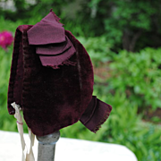 Late 19th c. Deep Burgundy Velvet Bonnet For A Bebe