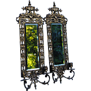 Pair Circa 1900 Solid Brass Sconces With Beveled Mirrors