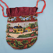 19th c. Scenic Micro Beaded Bag