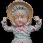 Charming All Bisque 19th c. Bonnet Head Swinger Doll