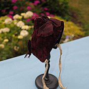 French 19th c. Deep Burgundy Velvet Bonnet