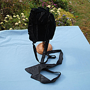 Blue Black Velvet Bonnet Circa 1870-1880