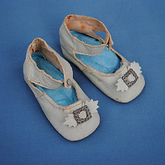 Late 19th c. Pale Blue Leather Shoes, Size 4