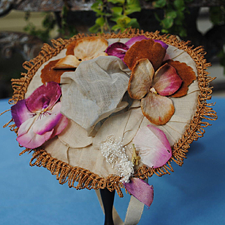 Original Late 19th c. Victorian Hat Decorated With Velvet Pansies