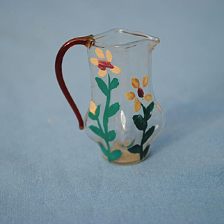 19th c. Dollhouse Hand Painted Blown Glass Pitcher