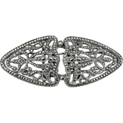 French Marcasite Duette Dress Clip Brooch