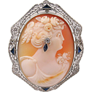 14K White Gold Cameo Pendant Brooch, Sapphire Diamond Accents