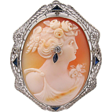 14K White Gold Cameo Pendant Brooch, Sapphire Diamond Accents