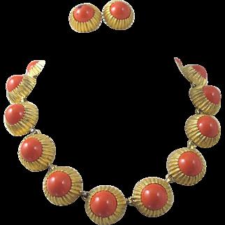 Nettie Rosentstein Coral Glass Necklace Set