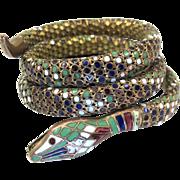 Art Deco Enamel Snake Bracelet, German Coiled Serpent Enamel Dot Bangle