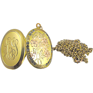 Victorian Oval Picture Locket, Rose Yellow Gold Filled Flowers Monogrammed