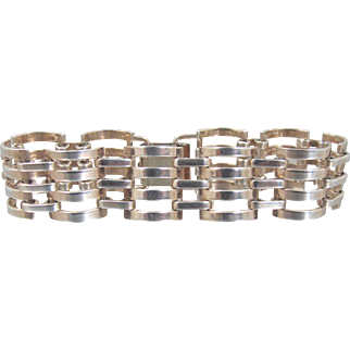 Art Deco Sterling Gate Link Bracelet, Sterling SIlver Rose Gold Vermeil