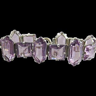 Art Deco Czech Purple Glass Bracelet, Open Back Unique Geometric Stones