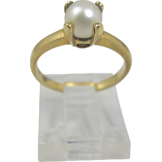 14K Cultured Pearl Solitaire Ring, Yellow Gold