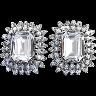 Kenneth Jay Lane Earrings, KJL Emerald Cut Clear Crystal Rhinestone Clip Ons, Bridal Wedding Jewelry